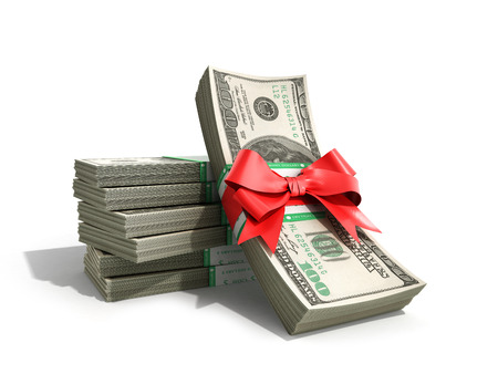 concept of money Deposite Bonus Stack of dollar bills Cash With Red Bow 3d render on White Back Ground Imagens