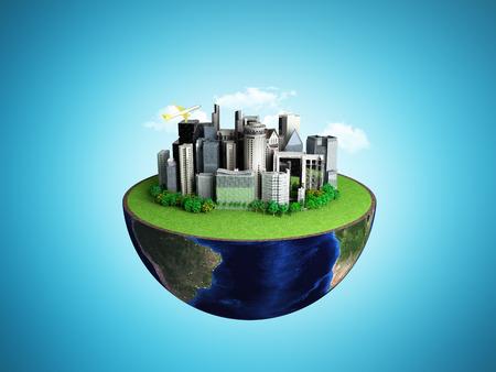 グローブと抽象的なブルーの都市都市概念の背景 3 D レンダリング