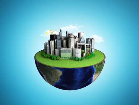 Urbanization concept with globe and city on abstract blue background 3D Rendering Stock Photo
