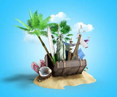 Concept of travel and tourism attractions and brown suitcase for travel 3D illustration onclue