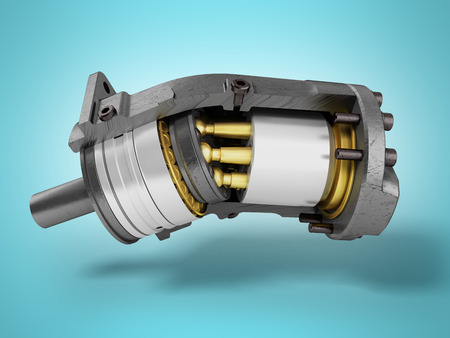 Hydraulic motor in a section of gold on the left 3d render on a blue background