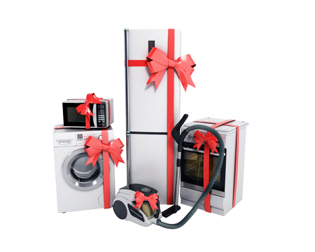Home appliances as a gift Group of white refrigerator washing machine stove microwave oven vacuum cleaner with red strip isolated on white background no shadow 3d Stock Photo