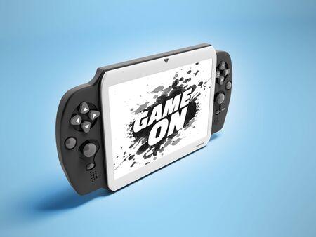 검은 관점으로 회색 모바일 게임 패드 태블릿 3d 렌더링은 파란색 배경이 아니다. 스톡 콘텐츠