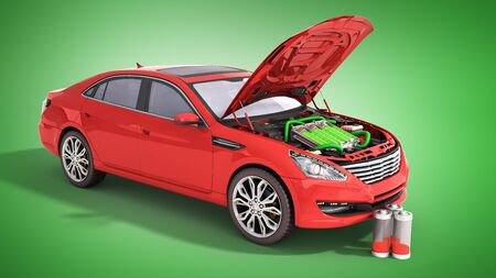 concept of battery capacity of an electric car batteries under the hood 3d render on green