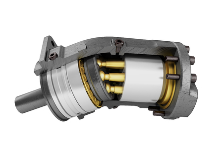 Hydraulic motor in a section of gold on the left 3d render on a white background no shadow Stock Photo