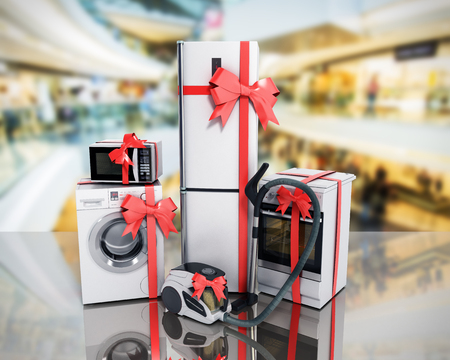 Home appliances as a gift Group of white refrigerator washing machine stove microwave oven vacuum cleaner with red strip sale background 3d render