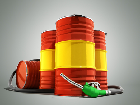 Oil barrels and drum containers 3render on grey Stock Photo