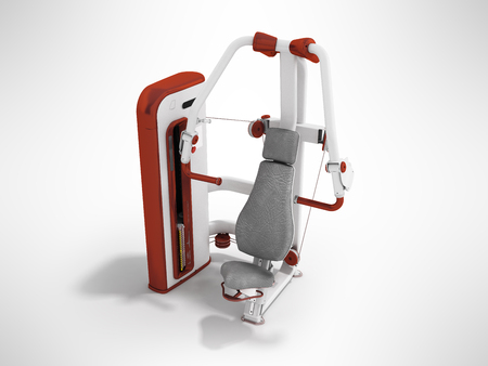 weight machine: Modern sport exercise machine for the body perspective 3d render on a gray background