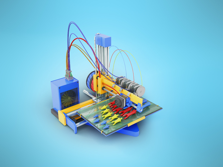 Printer 3d print the prosthesis hand in parts 3D render on blue background