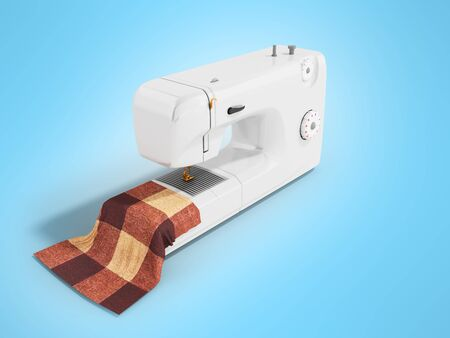 Modern white sewing machine with 3d render material on blue background