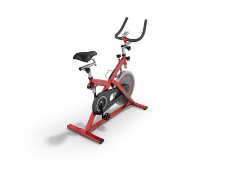 Modern exercise bike red perspective 3d render on white background