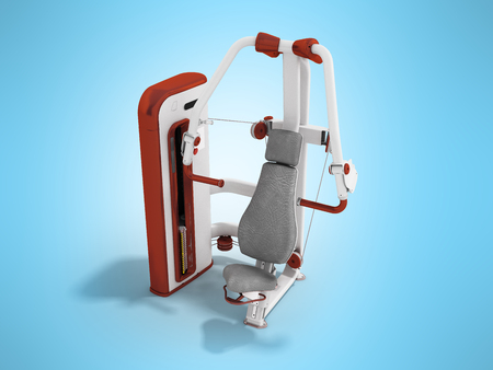 weight machine: Modern sport exercise machine for the body perspective 3d render on a blue background