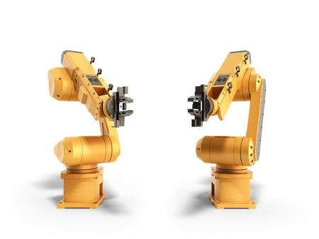 Industrial robots on white background 3D rendering