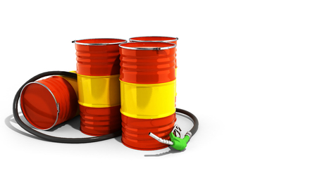 Oil barrels and drum containers 3render on white