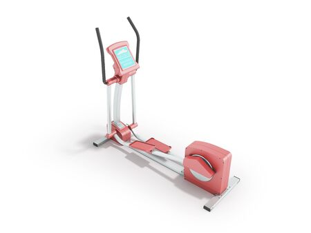 Pristine elliptical trainer home pink 3d rendering on white background Stock Photo