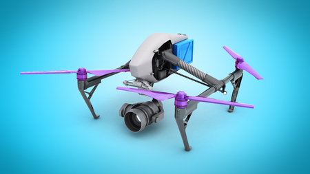 Film concept Generic Design Remote Control Air Drone Flying 3D rendering on blue Stock Photo