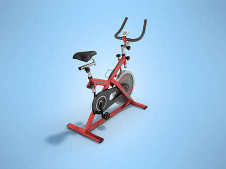 muscular control: Modern exercise bike red perspective 3d render on blue background