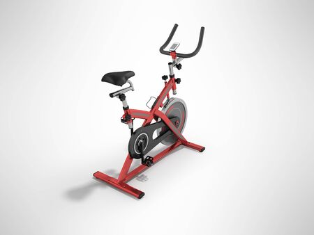 muscular control: Modern exercise bike red perspective 3d render on gray background