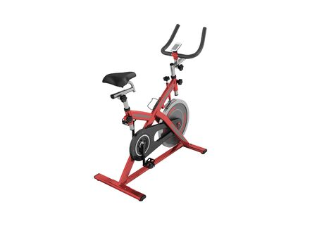 muscular control: Modern exercise bike red perspective 3d render on white background no shadow