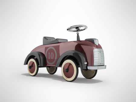 Machine pusher for children 3-6 years old red perspective front 3d render on gray background Stock Photo