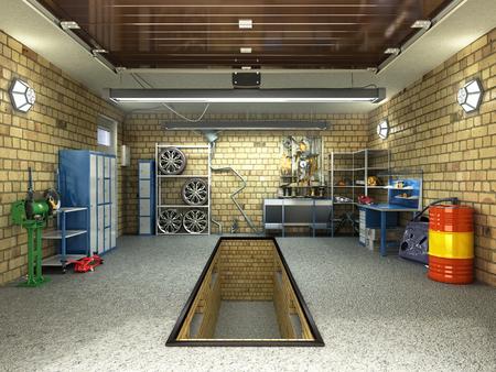 Front View of a Garage 3D Interior with Opened Roller Door 3D Rendering Stockfoto