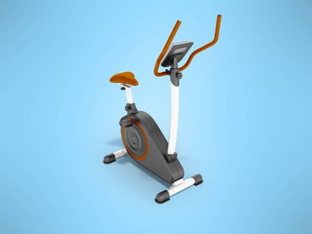 Interior room: Modern sports exercise bike with electric control home orange 3d render on a blue background Stock Photo