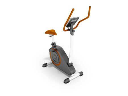 muscular control: Modern sports exercise bike with electric control home orange 3d render on a white background