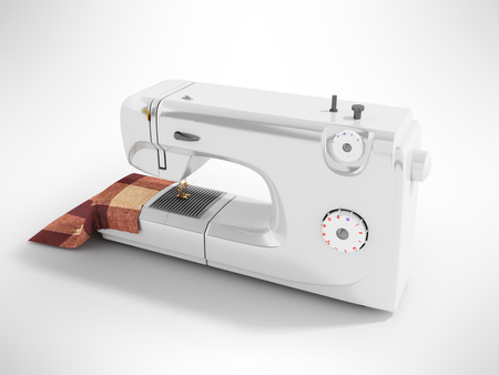 Modern sewing machine with material for seamstresses white perspective 3D render on a gray background