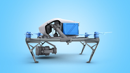 White drone quadrocopter with photo camera flying in the blue sky Concept of aero film 3d render on blue