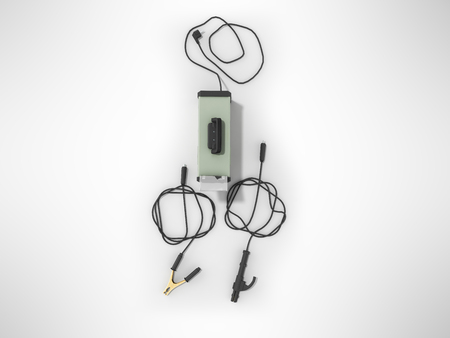 Inverter welding machine with cable for welding electrodes with a green top 3d render on a gray background