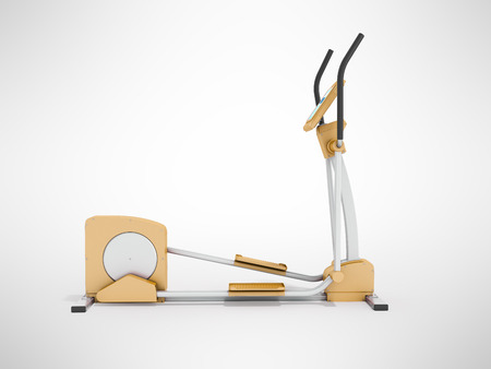Modern treadmill gym orange 3d rendering on gray background Stock Photo