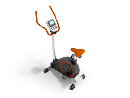 muscular control: A modern exercise bike for home weight loss electronic counting of long trip prospect front 3d render on a white background