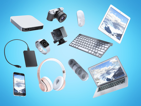 collection of consumer electronics flying in the air 3D render on blue background Standard-Bild