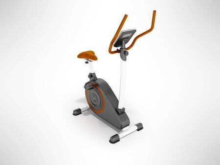 Modern sports exercise bike with electric control home orange 3d render on a gray background