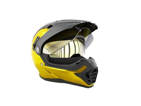 흰색에 노란색 크로스 헬멧 3d 렌더링 그림자