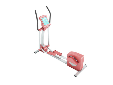 Pristine elliptical trainer home pink 3d rendering on white background no shadow