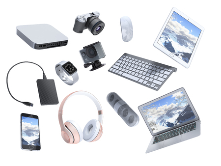 collection of consumer electronics flying in the air 3D render on white background Foto de archivo