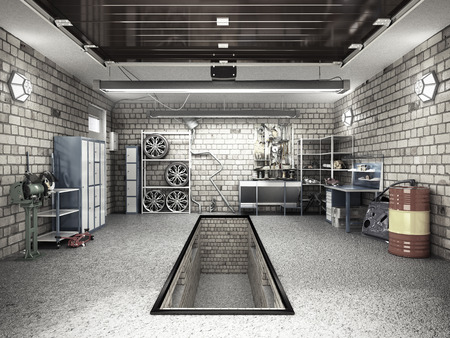 Vista frontal de un interior de garaje 3D con la representación 3D de puerta de rodillo abierta