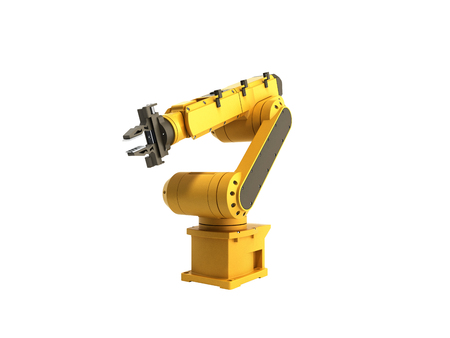 automate: Industrial robot on white background no shadow 3D rendering