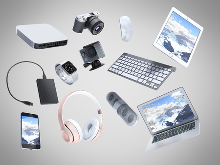 collection of consumer electronics flying in the air 3D render on grey background