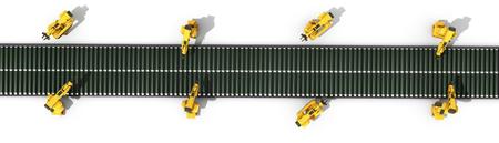 자동화 된 산업 컨베이어 상위보기 화이트 3d rendr