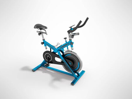 A modern exercise bike is a compact version for home use with an electronic length-of-route sensor, a 3D 3d render on a gray background Stock Photo