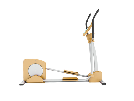Modern treadmill gym orange 3d rendering on white background no shadow Stock Photo