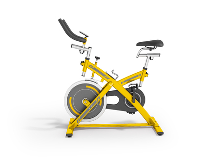 muscular control: Modern sport exercise bike for gym yellow 3d render on white background