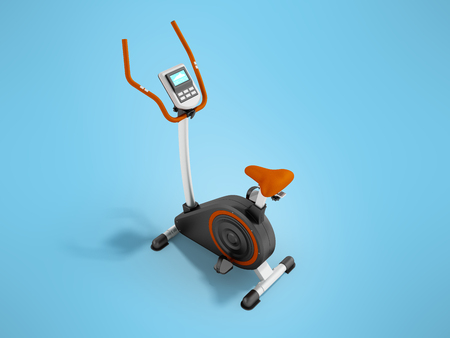 A modern exercise bike for home weight loss electronic counting of long trip prospect front 3d render on a blue background
