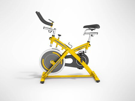 muscular control: Modern sport exercise bike for gym yellow 3d render on gray background Stock Photo