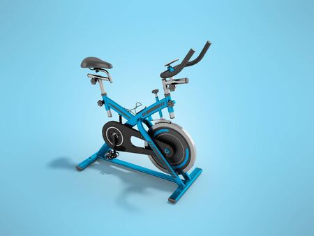 A modern exercise bike is a compact version for home use with an electronic length-of-route sensor, a 3D 3d render on a blue background