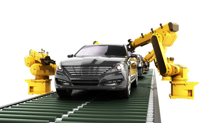 robot assembly line in car factory 3d render on white no shadow Standard-Bild