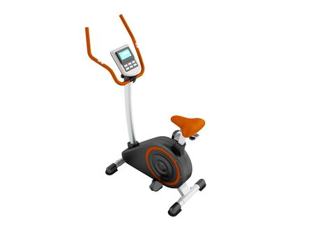 A modern exercise bike for home weight loss electronic counting of long trip prospect front 3d render on a white background no shadow