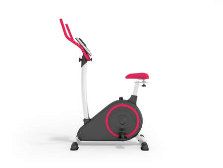 muscular control: Modern exercise bike pink on the left 3d render on a white background Stock Photo